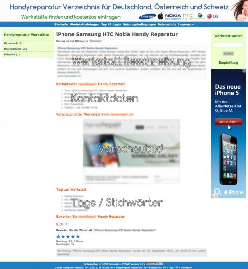 Beispielseite auf handyreparatur-verzeichnis.de