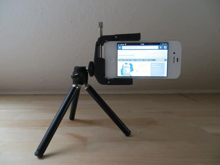 Handystativ iPhone Smartphone im Querformat