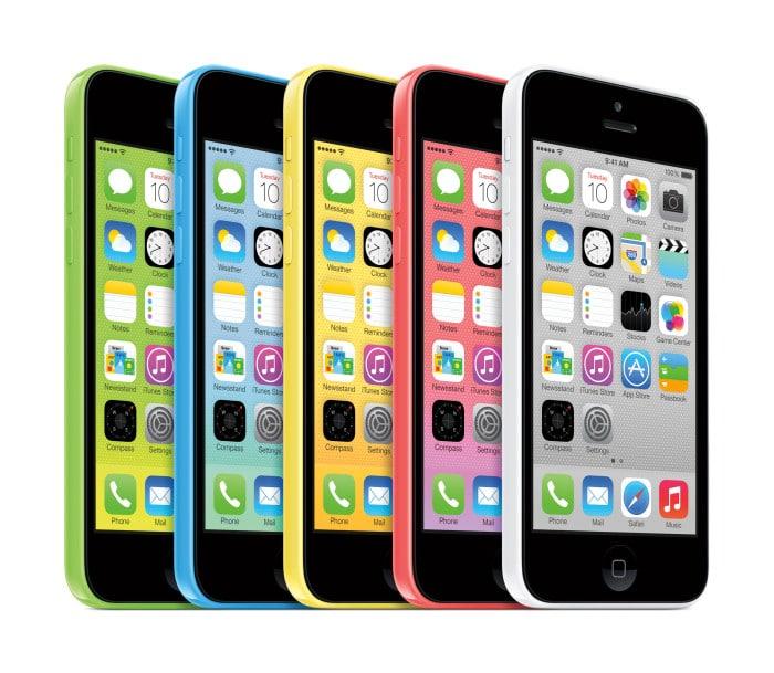 Apple iPhone 5C in den Farben Grün, Gelb, Blau, Rot und Weiß