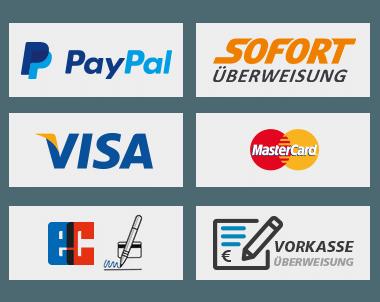 Kreditkarte, Kauf auf Rechnung, Vorauskasse, Lastschrift, PayPal, Sofortüberweisung Zahlungsvarianten